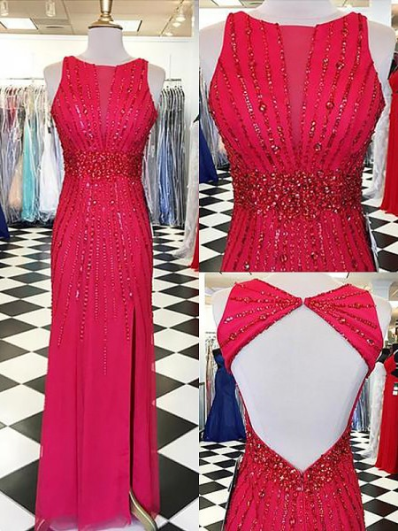 Sheath/Column Bateau Sleeveless Beading Floor-Length Chiffon Dresses