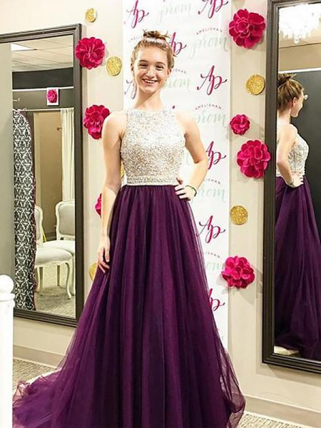 A-Line/Princess Bateau Sleeveless Sweep/Brush Train Beading Tulle Dresses