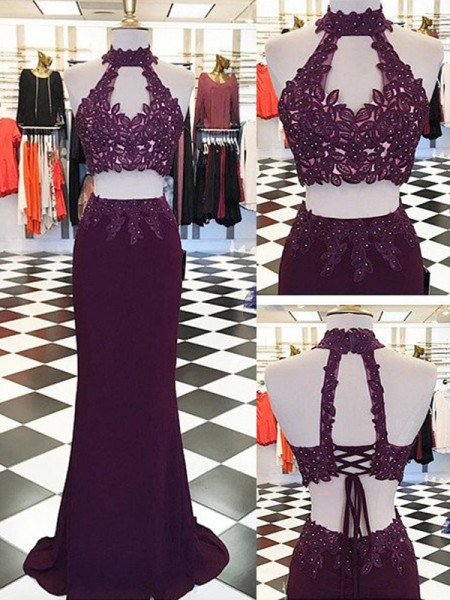 Sheath/Column Halter Applique Floor-Length Sleeveless Chiffon Two Piece Dresses