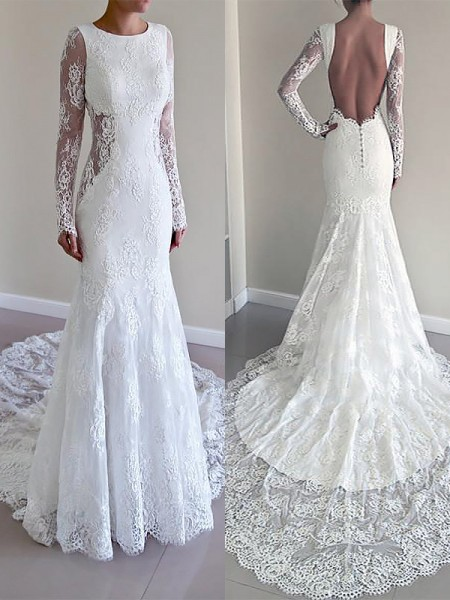 Trumpet/Mermaid Scoop Long Sleeves Court Train Lace Wedding Dresses