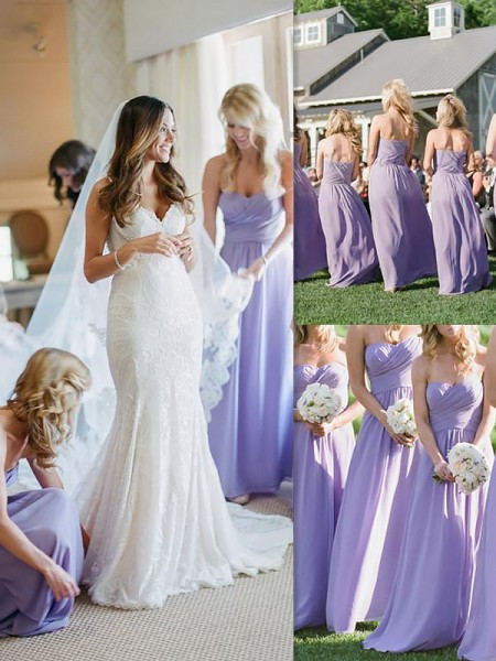 A-Line/Princess Sleeveless Chiffon Floor-Length Sweetheart Bridesmaid Dresses