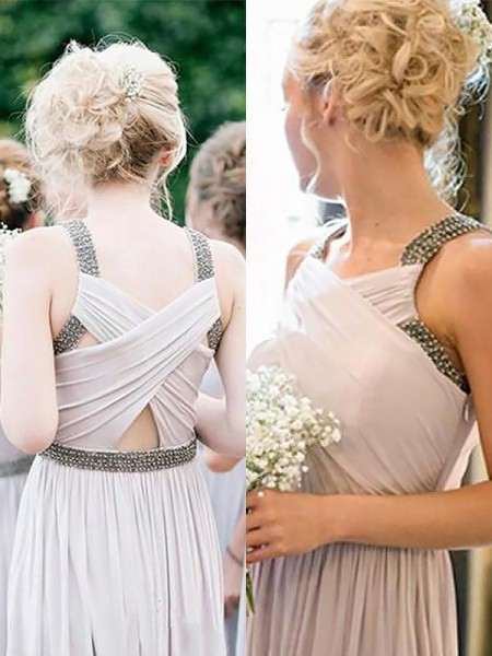 A-Line/Princess Straps Sleeveless Chiffon Floor-Length Beading Bridesmaid Dresses