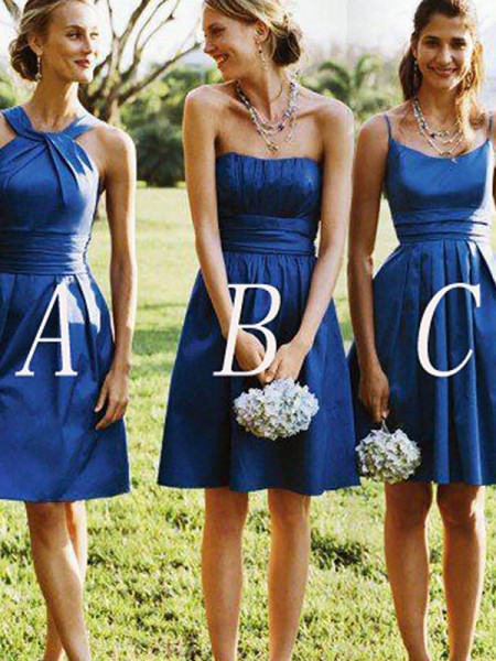 A-Line/Princess Sleeveless Satin Short/Mini Bridesmaid Dresses