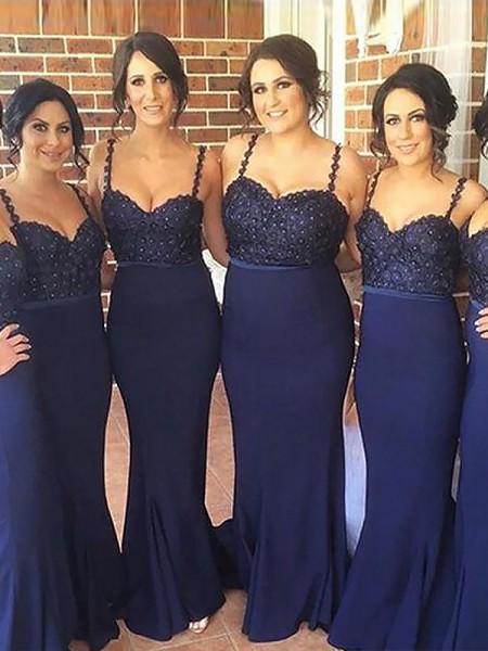Trumpet/Mermaid Spaghetti Straps Sleeveless Sweep/Brush Train Satin Bridesmaid Dresses
