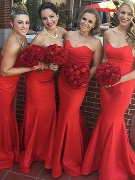 Trumpet/Mermaid Sweetheart Floor-Length Sleeveless Satin Bridesmaid Dresses