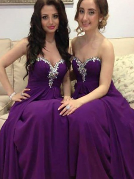 A-Line/Princess Sleeveless Beading Sweetheart Chiffon Floor-Length Bridesmaid Dresses