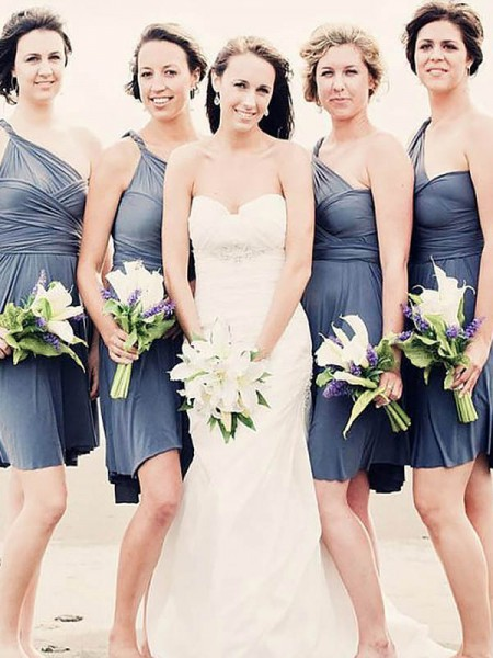 A-Line/Princess Chiffon One-Shoulder Sleeveless Short/Mini Bridesmaid Dresses