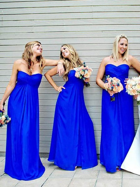 A-Line/Princess Floor-Length Sweetheart Chiffon Sleeveless Bridesmaid Dresses