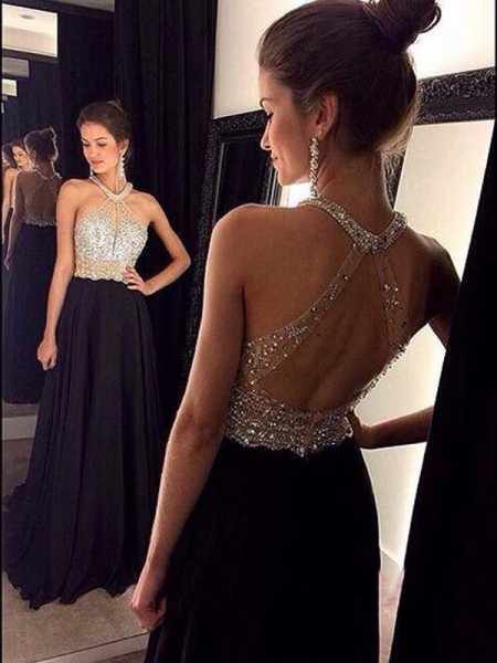 A-Line/Princess Sleeveless Halter Beading Chiffon Sweep/Brush Train Dresses