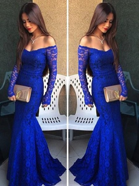 Trumpet/Mermaid Off-the-Shoulder Long Sleeves Lace Sweep Train Dresses