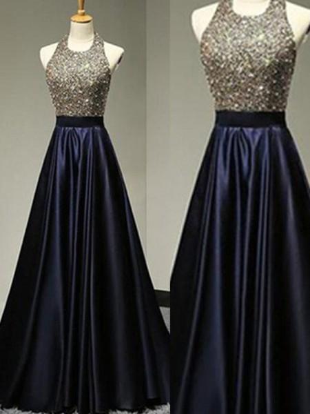 A-Line/Princess Sleeveless Halter Satin Floor-Length Beading Dresses