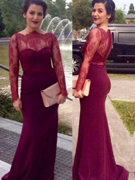 Sheath/Column Scoop Long Sleeves Lace Floor-Length Chiffon Dresses