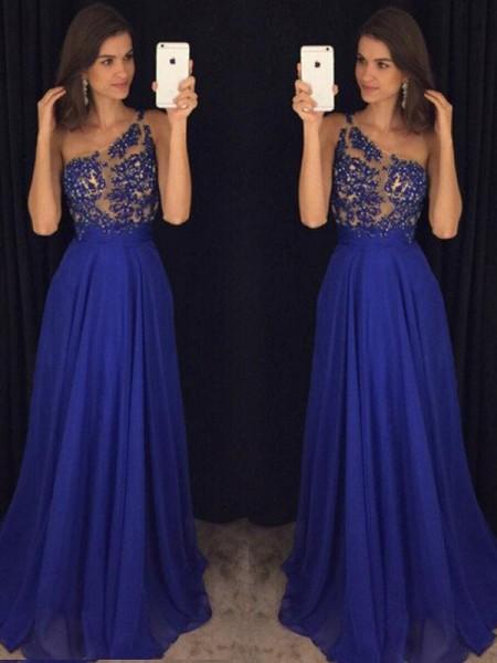 A-Line/Princess Sleeveless One-Shoulder Floor-Length Beading Chiffon Dresses