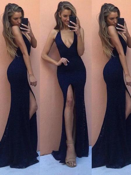 Sheath/Column Sleeveless Satin V-Neck Floor-Length Dresses