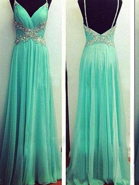 A-Line/Princess Spaghetti Straps Sleeveless Beading Floor-Length Chiffon Dresses