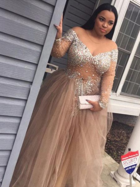 Ball Gown Off-the-Shoulder Long Sleeves Sequin Tulle Floor-Length Dresses