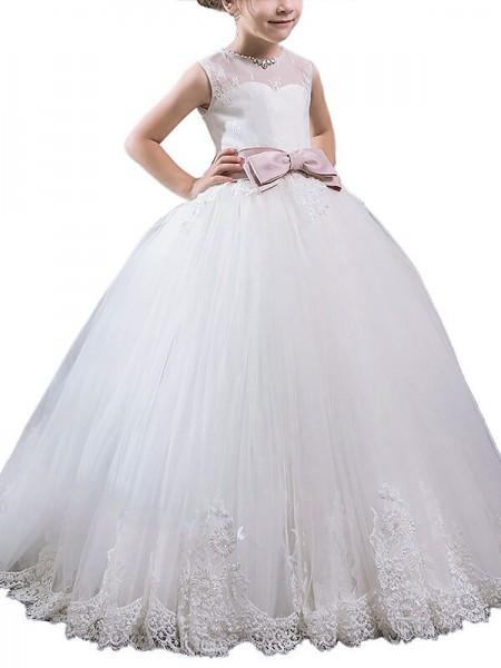 Ball Gown Scoop Sash/Ribbon/Belt Sleeveless Floor-Length Tulle Flower Girl Dresses