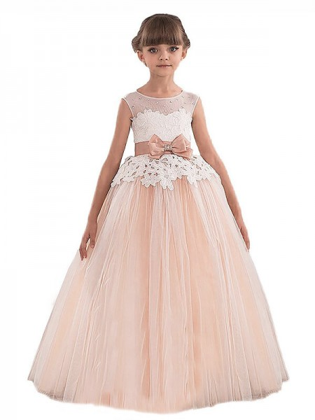 Ball Gown Scoop Sleeveless Sash/Ribbon/Belt Tulle Floor-Length Flower Girl Dresses
