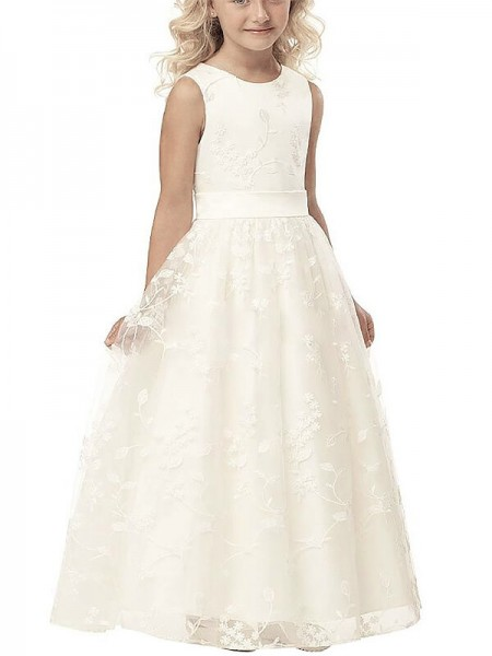 A-line/Princess Scoop Sleeveless Applique Tulle Floor-Length Flower Girl Dresses