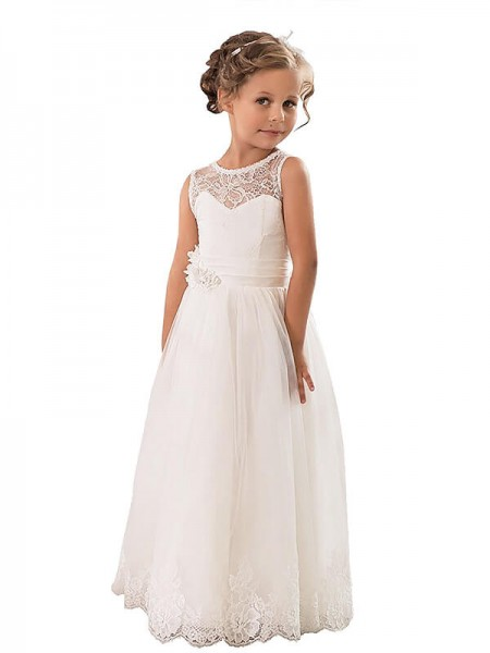 A-line/Princess Scoop Sleeveless Tulle Floor-Length Flower Girl Dresses