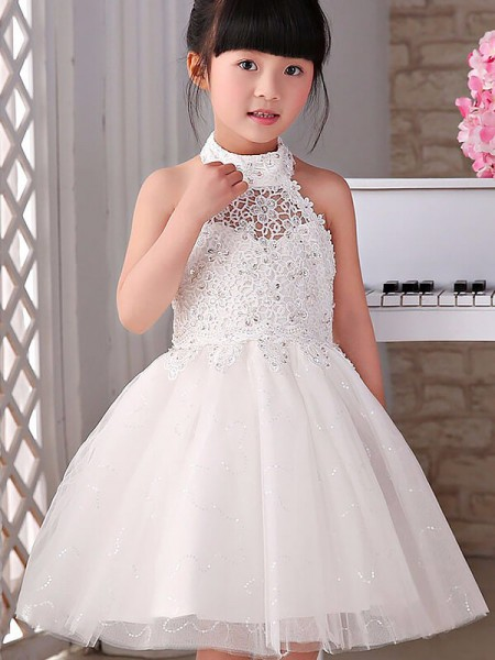 A-line/Princess Halter Sleeveless Beading Tulle Knee-Length Flower Girl Dresses