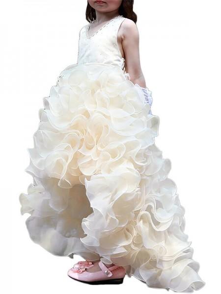 A-line/Princess V-neck Sleeveless Asymmetrical Organza Ruffles Flower Girl Dresses