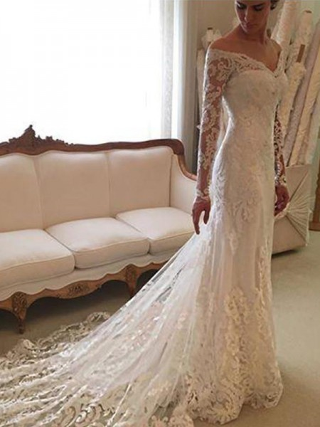 Sheath/Column Long Sleeves Lace Off-the-Shoulder Court Train Wedding Dresses