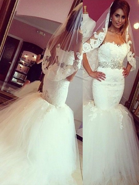 Trumpet/Mermaid Lace Tulle Sweetheart Sleeveless Court Train Wedding Dresses