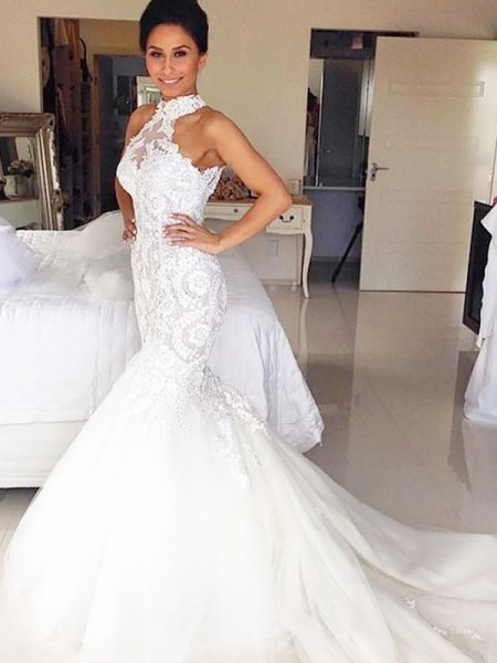 Trumpet/Mermaid Halter Court Train Tulle Sleeveless Wedding Dresses