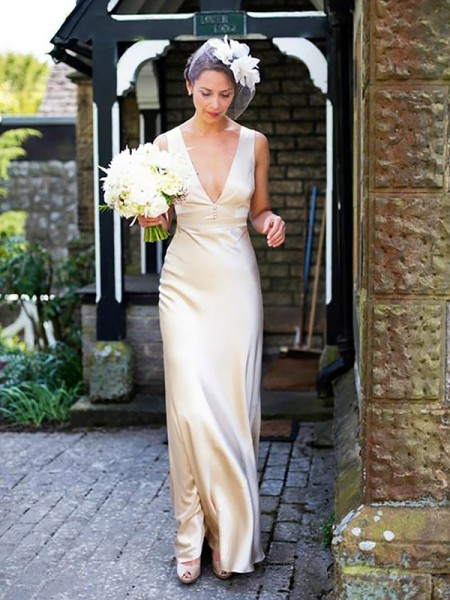 Sheath/Column Satin Sleeveless V-neck Sweep/Brush Train Wedding Dresses