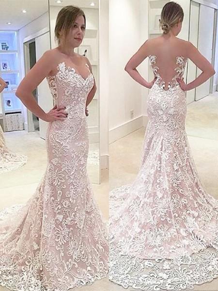 Trumpet/Mermaid Lace Sleeveless Sweetheart Sweep/Brush Train Wedding Dresses