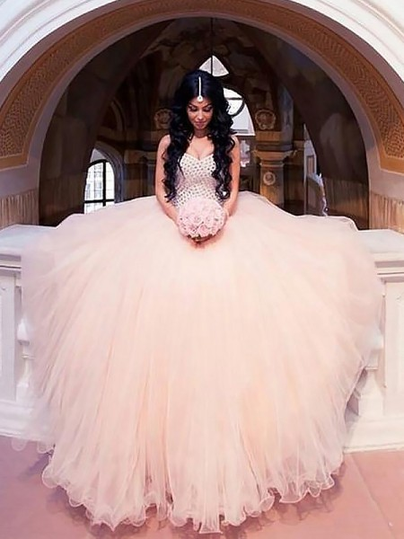 Ball Gown Sleeveless Beading Tulle Sweetheart Sweep/Brush Train Wedding Dresses