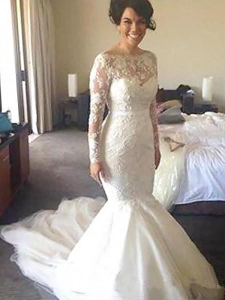 A-Line/Princess Bateau Long Sleeves Tulle Court Train Applique Wedding Dresses