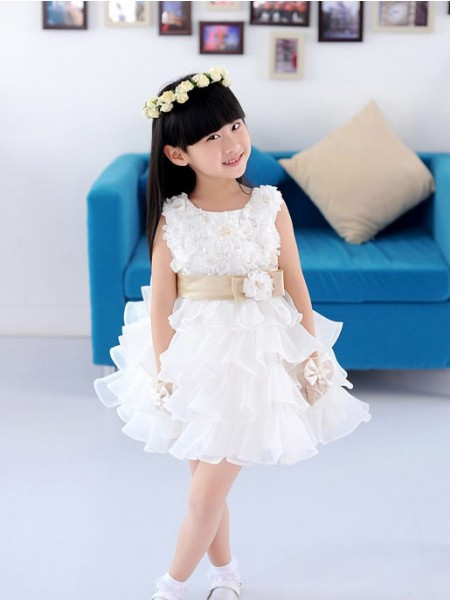 A-line/Princess Scoop Sleeveless Hand-made Flower Short Organza Flower Girl Dresses