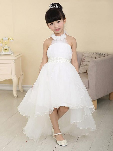 A-line/Princess High Neck Sleeveless Beading High Low Organza Flower Girl Dresses