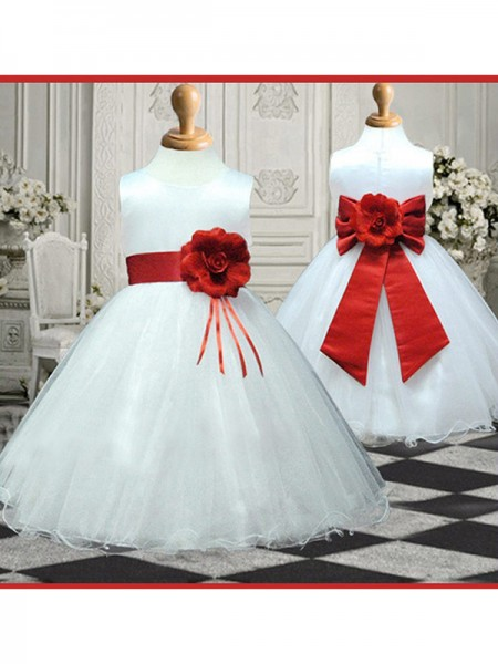 A-line/Princess Scoop Sleeveless Hand-made Flower Long Organza Flower Girl Dresses