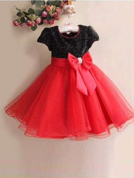 A-line/Princess Scoop Short Sleeves Bowknot Long Organza Flower Girl Dresses