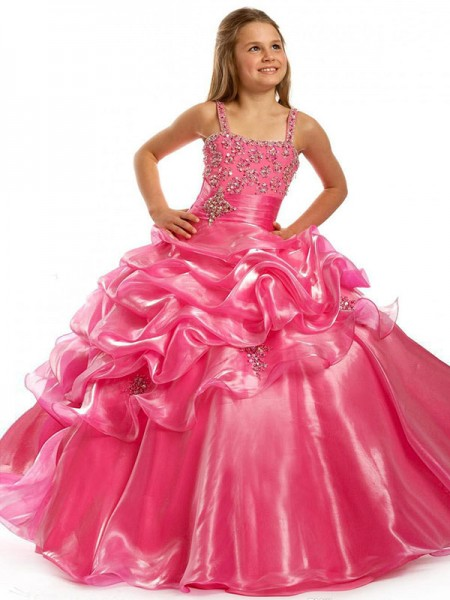 Ball Gown Straps Sleeveless Beading Long Taffeta Flower Girl Dresses