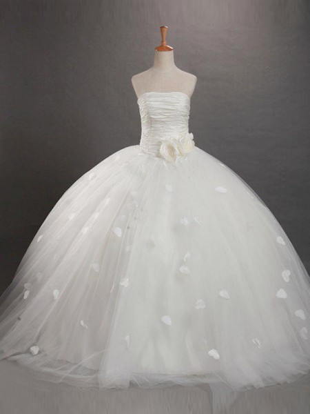 Ball Gown Strapless Ruffles Sleeveless Long Net Flower Girl Dresses