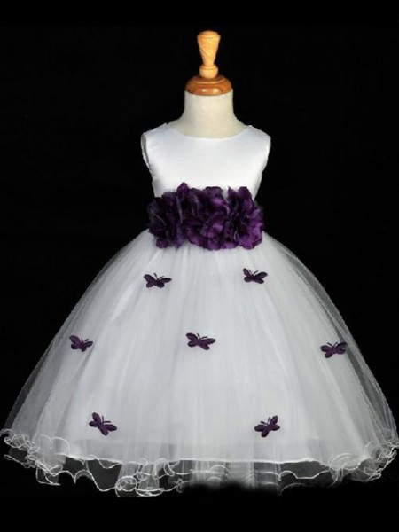 A-line/Princess Scoop Hand-made Flower Sleeveless Long Organza Flower Girl Dresses