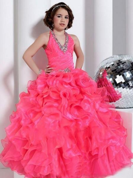 Ball Gown Halter Sleeveless Beading Long Organza Flower Girl Dresses