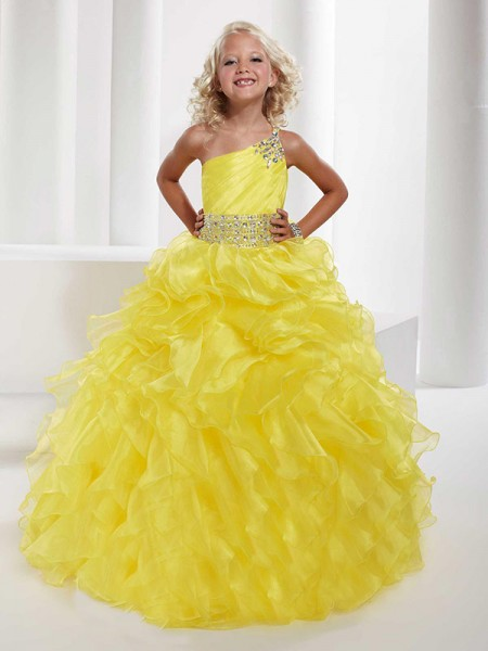 Ball Gown One-shoulder Sleeveless Beading Long Organza Flower Girl Dresses