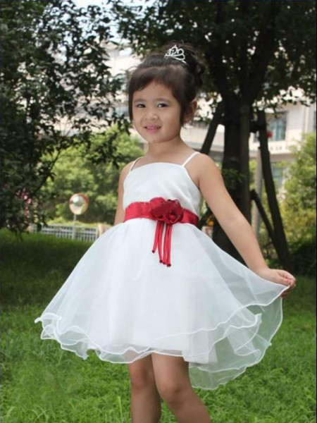 A-line/Princess Spaghetti Straps Hand-made Flower Short Organza Flower Girl Dresses