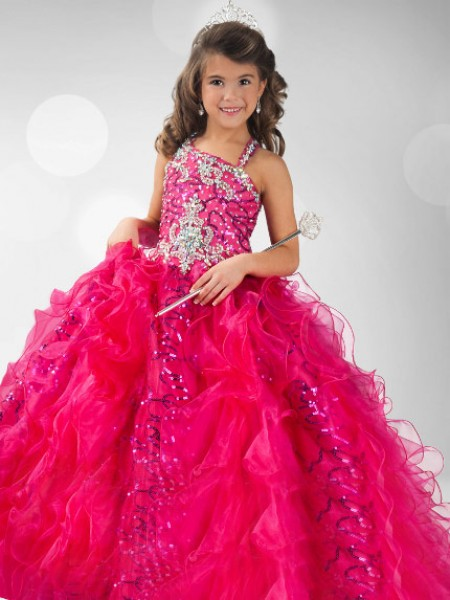 Ball Gown Straps Sequin Sleeveless Long Organza Flower Girl Dresses