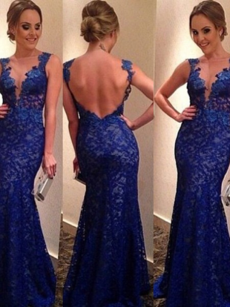Trumpet/Mermaid V-neck Sleeveless Applique Sweep Train Lace Dresses