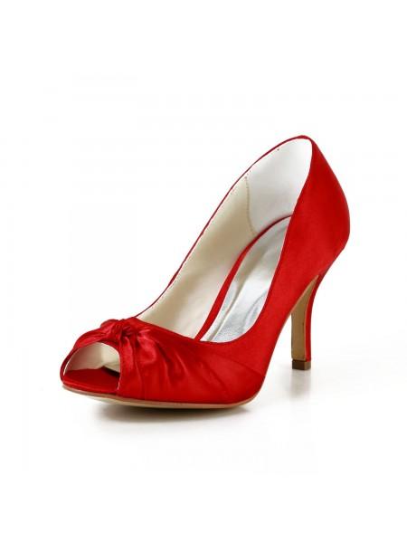 Women's Pretty Satin Stiletto Heel Pumps Red Wedding Shoes