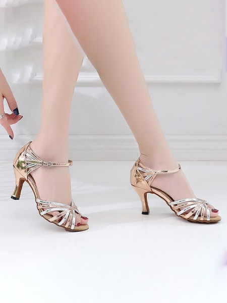 Women's PU Peep Toe With Ankle Strap Chunky Heel Sandals