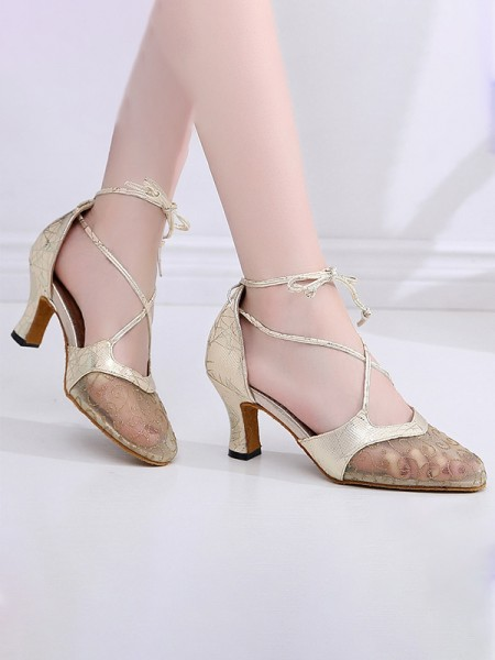 Women's Leatherette Closed Toe With Lace Chunky Heel Sandals