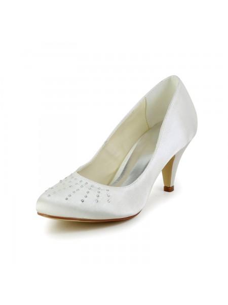 Women's Satin Closed Toe Cone Heel Ivory Wedding Shoes With Rhinestone
