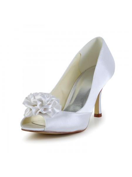 Women's Satin Stiletto Heel Peep Toe White Wedding Shoes With Flower